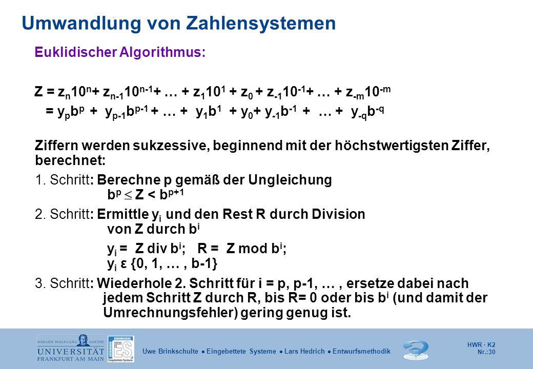 HWR · K2 Nr.:30 Uwe Brinkschulte  Eingebettete Systeme  Lars Hedrich  Entwurfsmethodik Umwandlung von Zahlensystemen Euklidischer Algorithmus: Z =