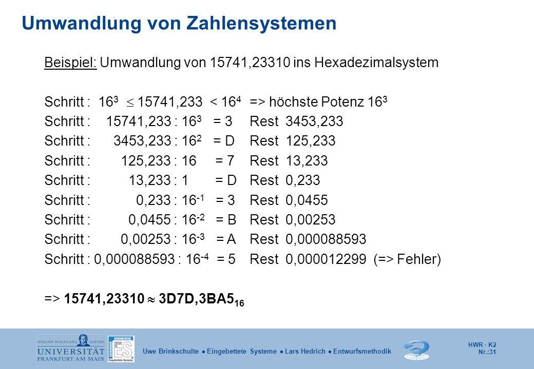 HWR · K2 Nr.:31 Uwe Brinkschulte  Eingebettete Systeme  Lars Hedrich  Entwurfsmethodik Umwandlung von Zahlensystemen Beispiel: Umwandlung von 15741