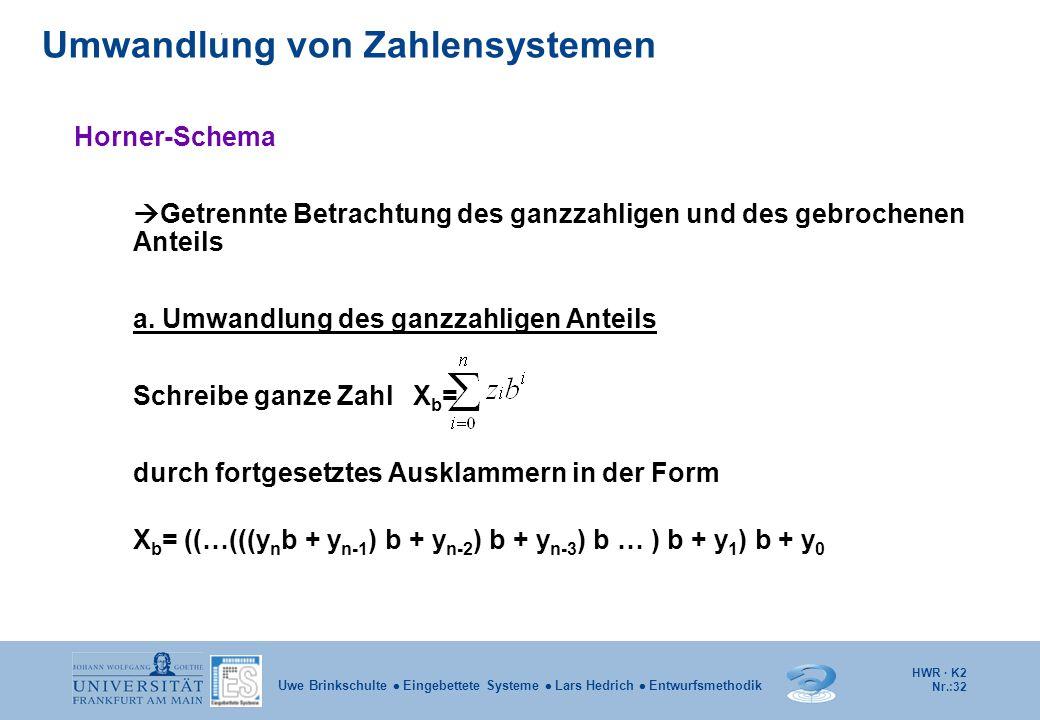 HWR · K2 Nr.:32 Uwe Brinkschulte  Eingebettete Systeme  Lars Hedrich  Entwurfsmethodik Horner-Schema  Getrennte Betrachtung des ganzzahligen und d