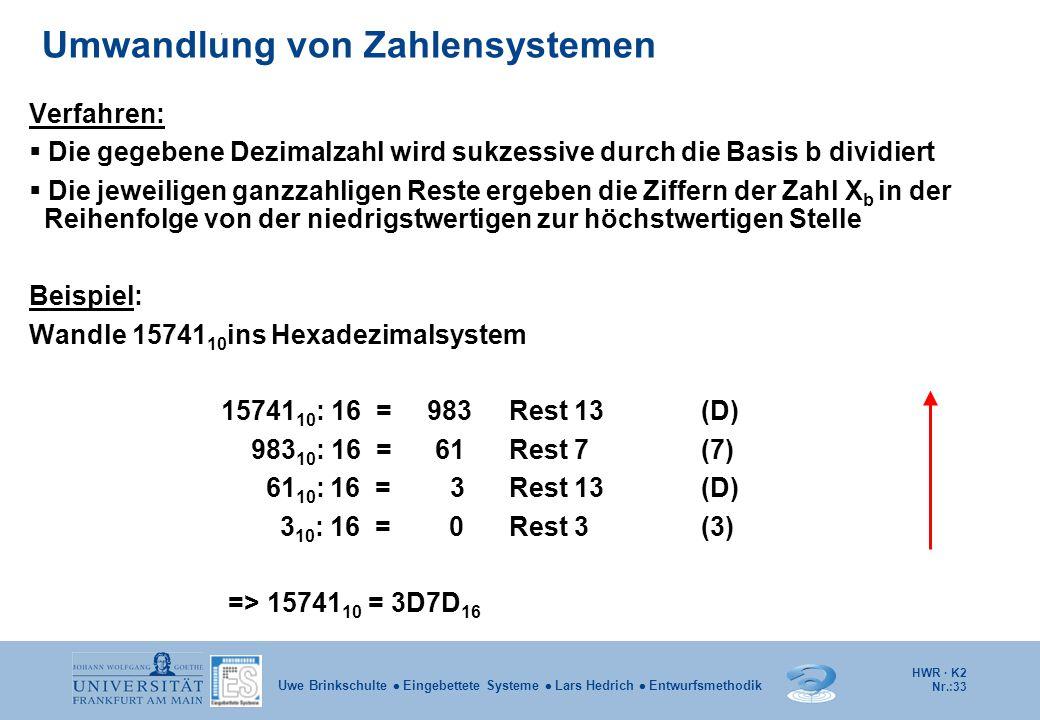 HWR · K2 Nr.:33 Uwe Brinkschulte  Eingebettete Systeme  Lars Hedrich  Entwurfsmethodik Verfahren:  Die gegebene Dezimalzahl wird sukzessive durch