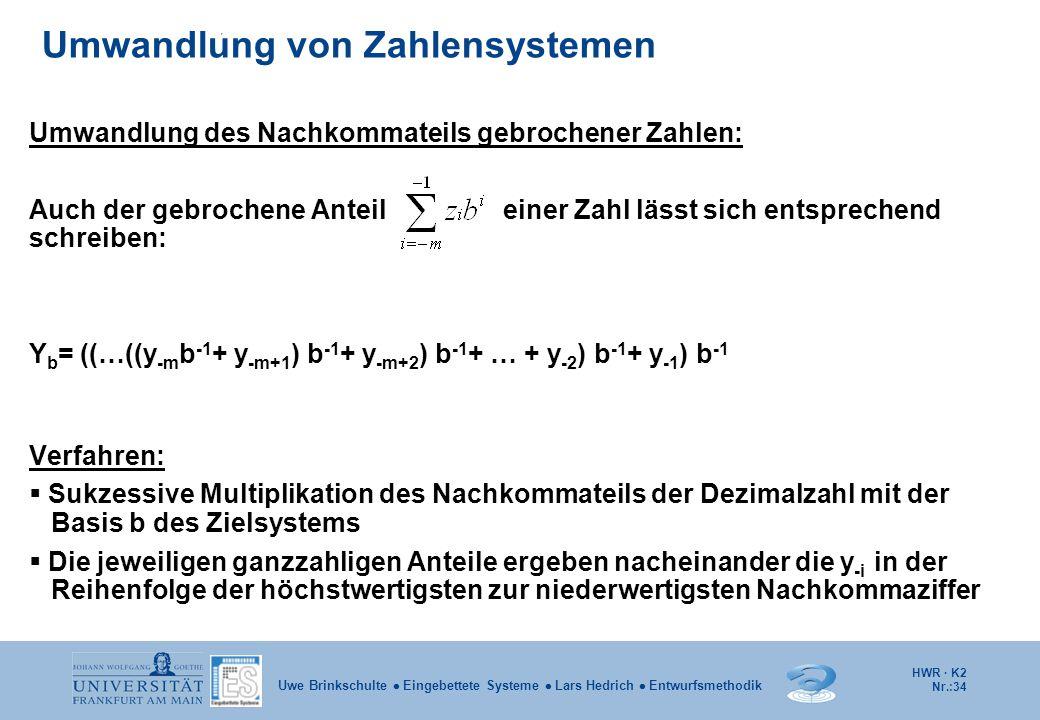 HWR · K2 Nr.:34 Uwe Brinkschulte  Eingebettete Systeme  Lars Hedrich  Entwurfsmethodik Umwandlung des Nachkommateils gebrochener Zahlen: Auch der g