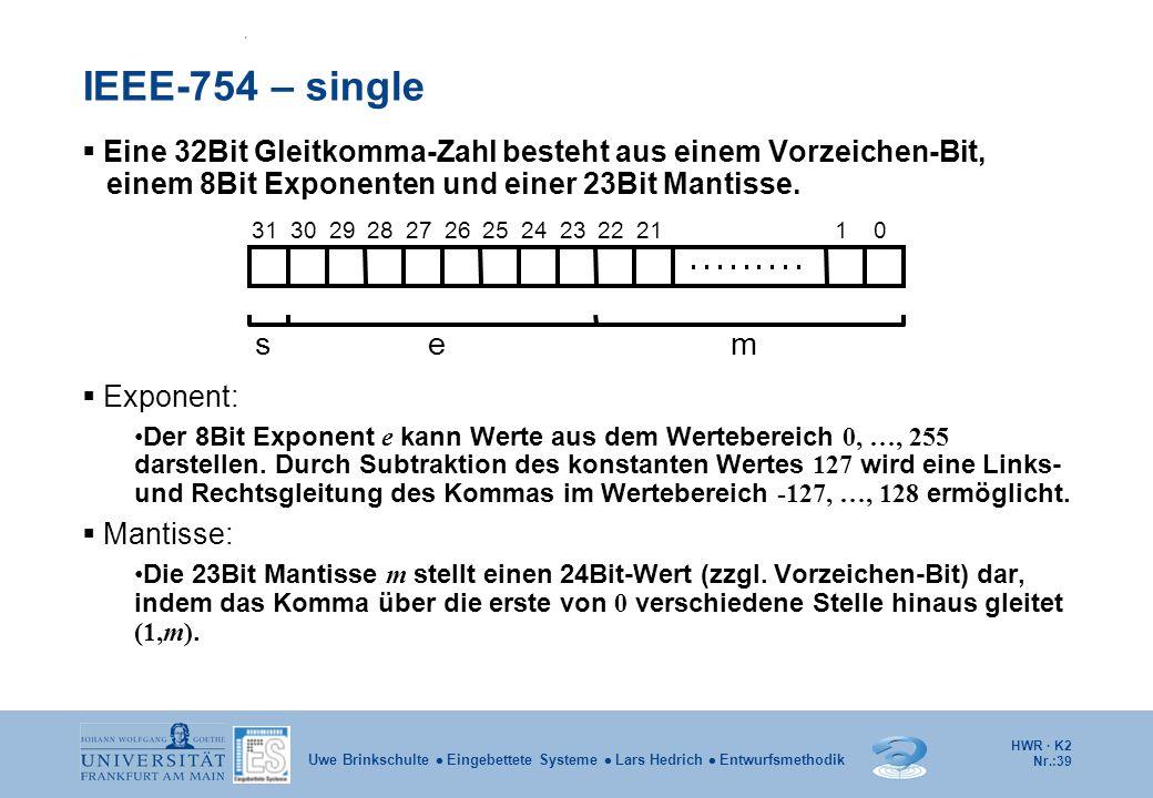 HWR · K2 Nr.:39 Uwe Brinkschulte  Eingebettete Systeme  Lars Hedrich  Entwurfsmethodik IEEE-754 – single  Eine 32Bit Gleitkomma-Zahl besteht aus e