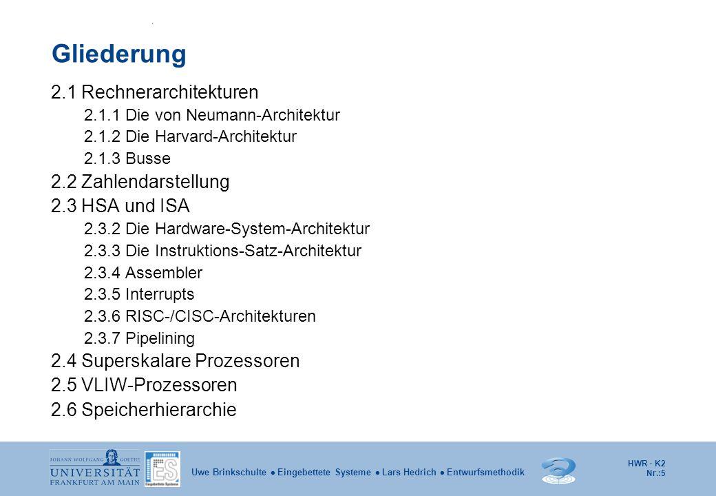 HWR · K2 Nr.:5 Uwe Brinkschulte  Eingebettete Systeme  Lars Hedrich  Entwurfsmethodik Gliederung 2.1 Rechnerarchitekturen 2.1.1 Die von Neumann-Arc