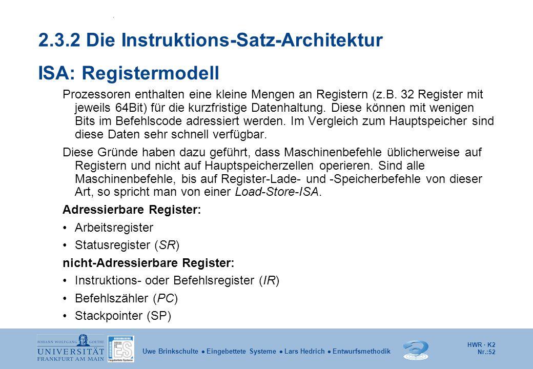 HWR · K2 Nr.:52 Uwe Brinkschulte  Eingebettete Systeme  Lars Hedrich  Entwurfsmethodik 2.3.2 Die Instruktions-Satz-Architektur ISA: Registermodell