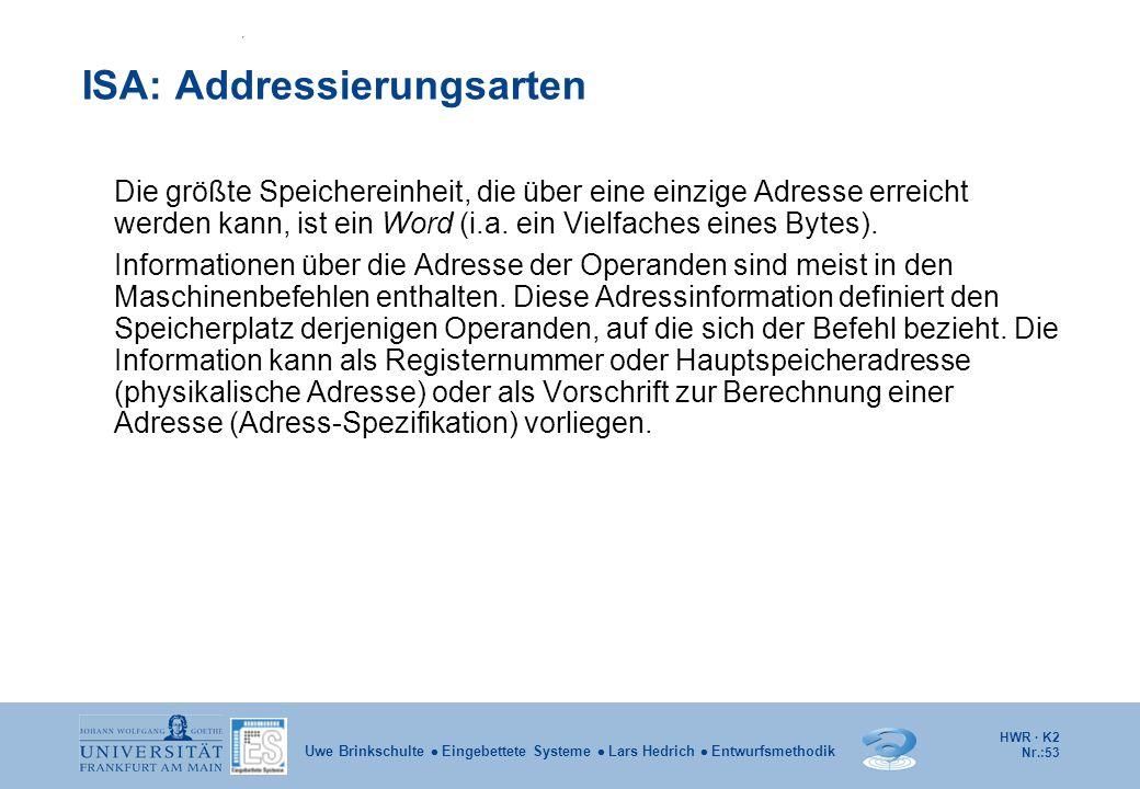 HWR · K2 Nr.:53 Uwe Brinkschulte  Eingebettete Systeme  Lars Hedrich  Entwurfsmethodik ISA: Addressierungsarten Die größte Speichereinheit, die übe