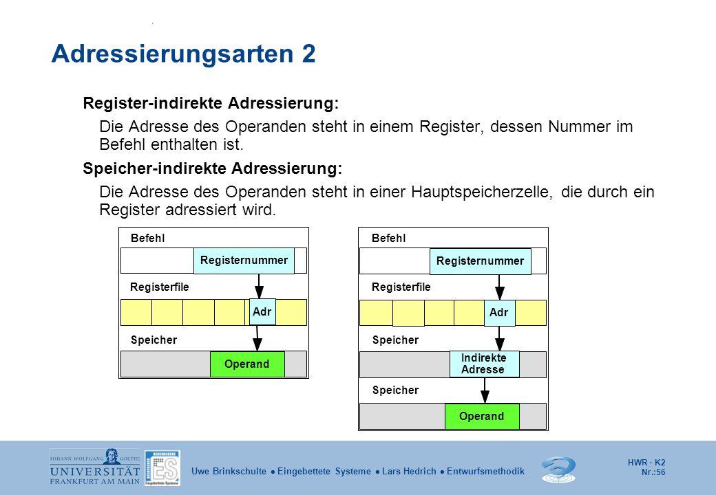 HWR · K2 Nr.:56 Uwe Brinkschulte  Eingebettete Systeme  Lars Hedrich  Entwurfsmethodik Adressierungsarten 2 Register-indirekte Adressierung: Die Ad