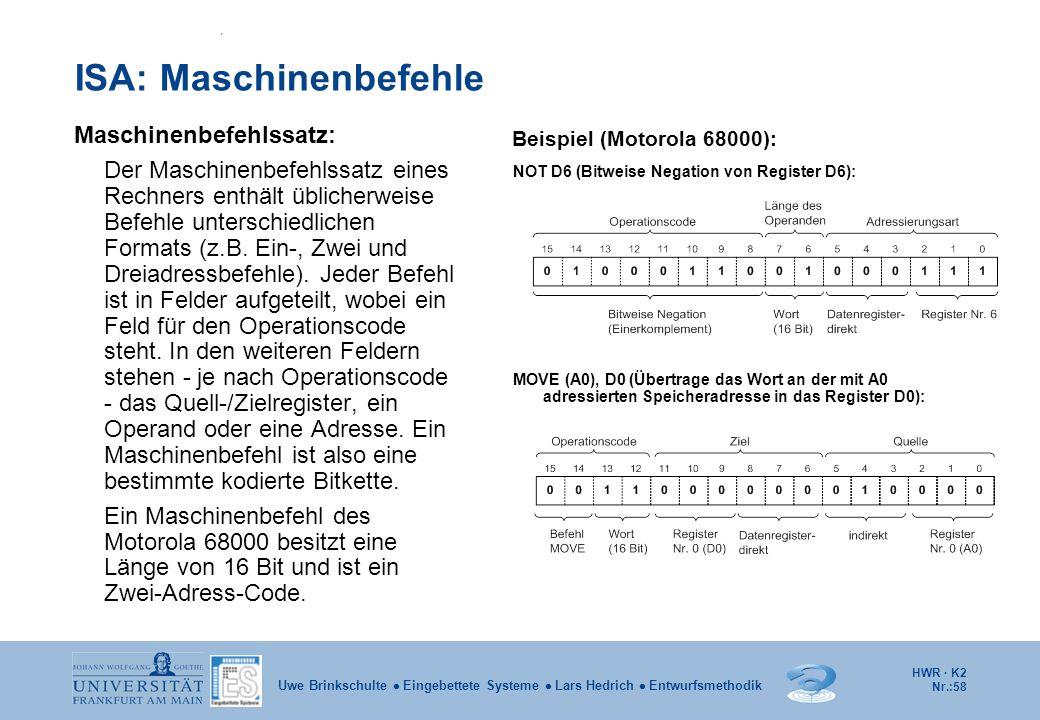 HWR · K2 Nr.:58 Uwe Brinkschulte  Eingebettete Systeme  Lars Hedrich  Entwurfsmethodik ISA: Maschinenbefehle Maschinenbefehlssatz: Der Maschinenbef