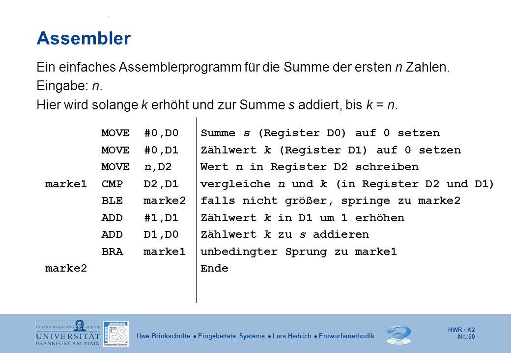 HWR · K2 Nr.:60 Uwe Brinkschulte  Eingebettete Systeme  Lars Hedrich  Entwurfsmethodik Assembler Ein einfaches Assemblerprogramm für die Summe der