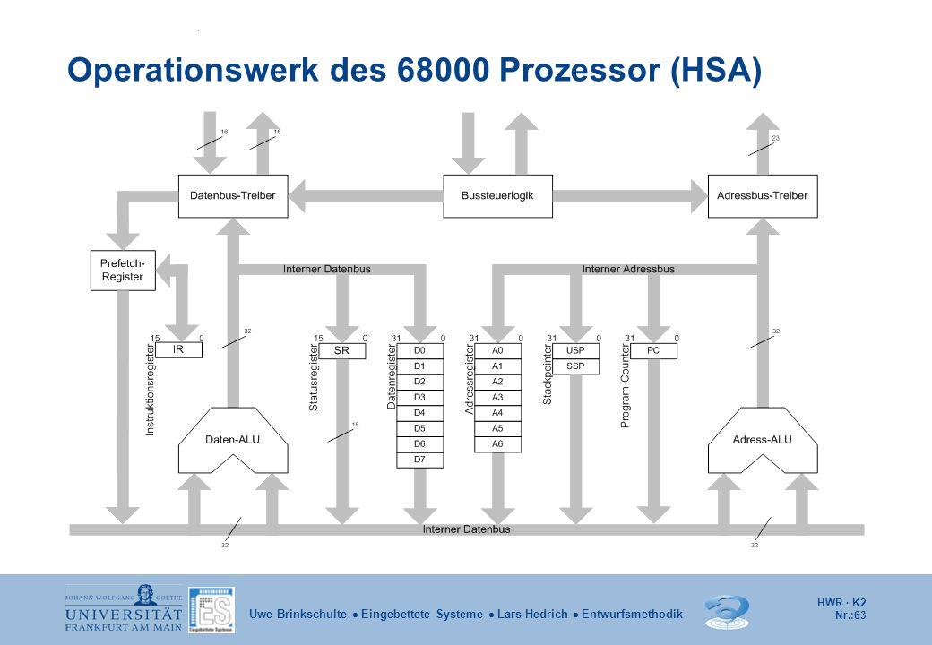 HWR · K2 Nr.:63 Uwe Brinkschulte  Eingebettete Systeme  Lars Hedrich  Entwurfsmethodik Operationswerk des 68000 Prozessor (HSA)