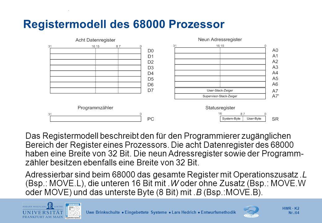 HWR · K2 Nr.:64 Uwe Brinkschulte  Eingebettete Systeme  Lars Hedrich  Entwurfsmethodik Registermodell des 68000 Prozessor Das Registermodell beschr