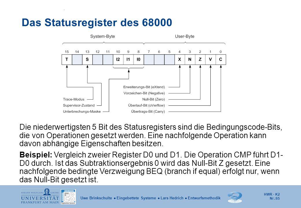 HWR · K2 Nr.:65 Uwe Brinkschulte  Eingebettete Systeme  Lars Hedrich  Entwurfsmethodik Das Statusregister des 68000 Die niederwertigsten 5 Bit des