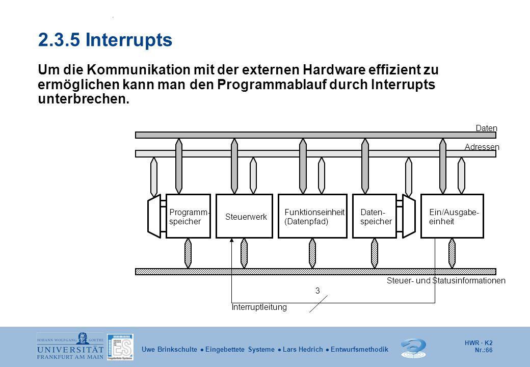 HWR · K2 Nr.:66 Uwe Brinkschulte  Eingebettete Systeme  Lars Hedrich  Entwurfsmethodik 2.3.5 Interrupts Um die Kommunikation mit der externen Hardw