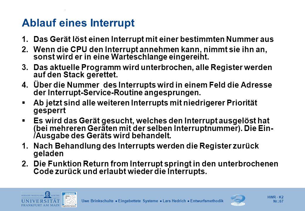 HWR · K2 Nr.:67 Uwe Brinkschulte  Eingebettete Systeme  Lars Hedrich  Entwurfsmethodik Ablauf eines Interrupt 1.Das Gerät löst einen Interrupt mit