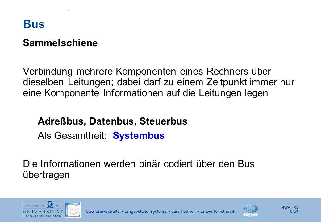 HWR · K2 Nr.:88 Uwe Brinkschulte  Eingebettete Systeme  Lars Hedrich  Entwurfsmethodik L1/L2-Cache  Weitere Verbesserung:  Level 1 Cache: Getrennte Caches für Daten und Instruktionen (Harvard Architektur)  Level 2 Cache: Langsamer, größer und gemeinsamer Inhalt CPU Hauptspeicher Cache-Controller Cache-Speicher Datenbus Adressbus Steuerleitungen Instruktions- Cache Daten Cache L1 Cache L2 Cache