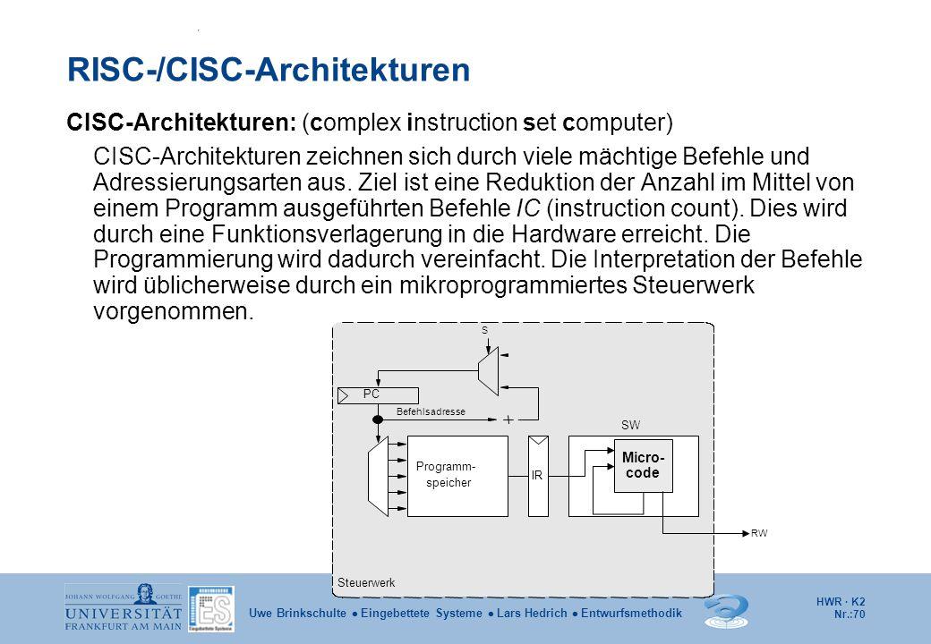 HWR · K2 Nr.:70 Uwe Brinkschulte  Eingebettete Systeme  Lars Hedrich  Entwurfsmethodik RISC-/CISC-Architekturen CISC-Architekturen: (complex instru