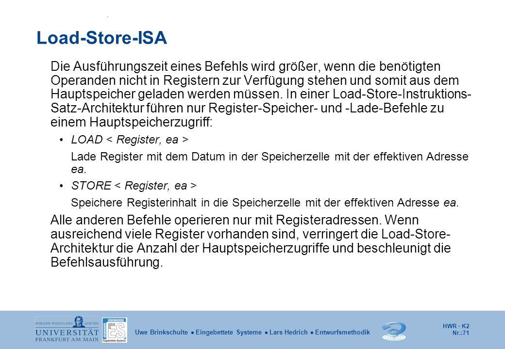 HWR · K2 Nr.:71 Uwe Brinkschulte  Eingebettete Systeme  Lars Hedrich  Entwurfsmethodik Load-Store-ISA Die Ausführungszeit eines Befehls wird größer