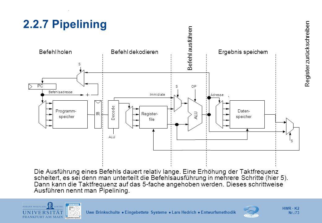 HWR · K2 Nr.:73 Uwe Brinkschulte  Eingebettete Systeme  Lars Hedrich  Entwurfsmethodik 2.2.7 Pipelining S OPS ALU IR Decode speicher Programm- Adre