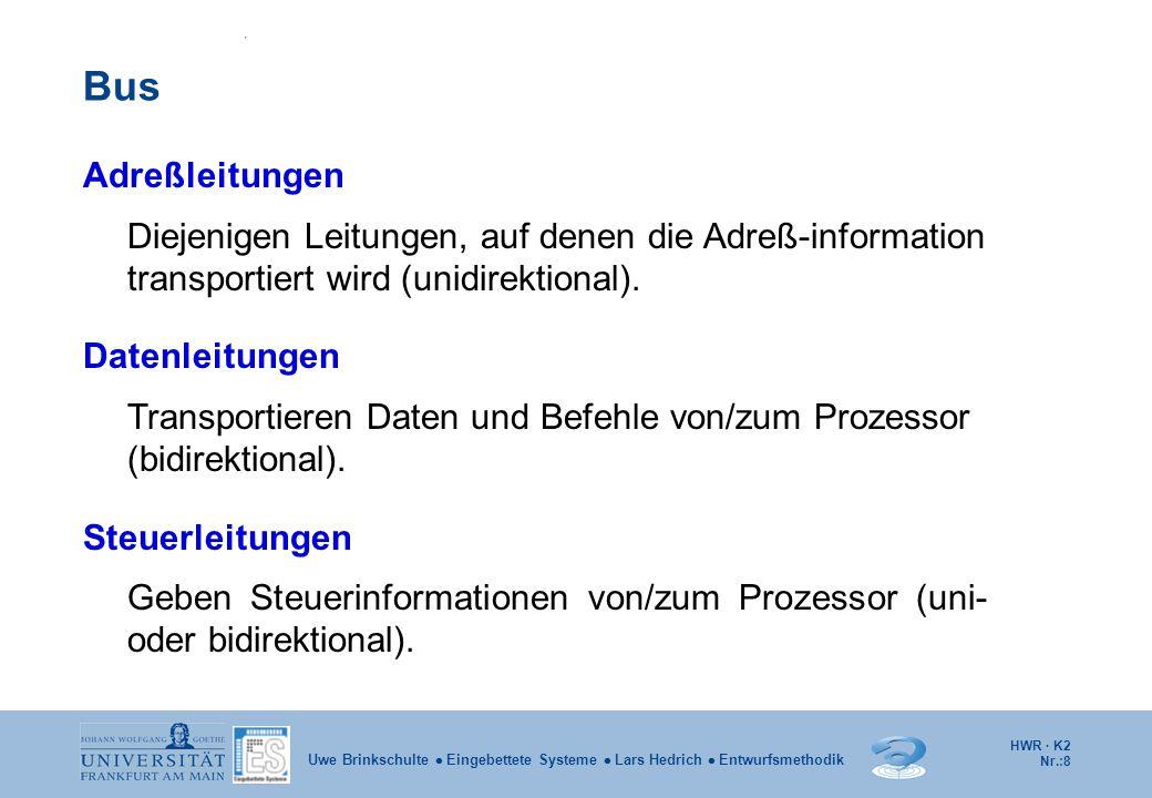 HWR · K2 Nr.:8 Uwe Brinkschulte  Eingebettete Systeme  Lars Hedrich  Entwurfsmethodik Bus Adreßleitungen Diejenigen Leitungen, auf denen die Adreß-