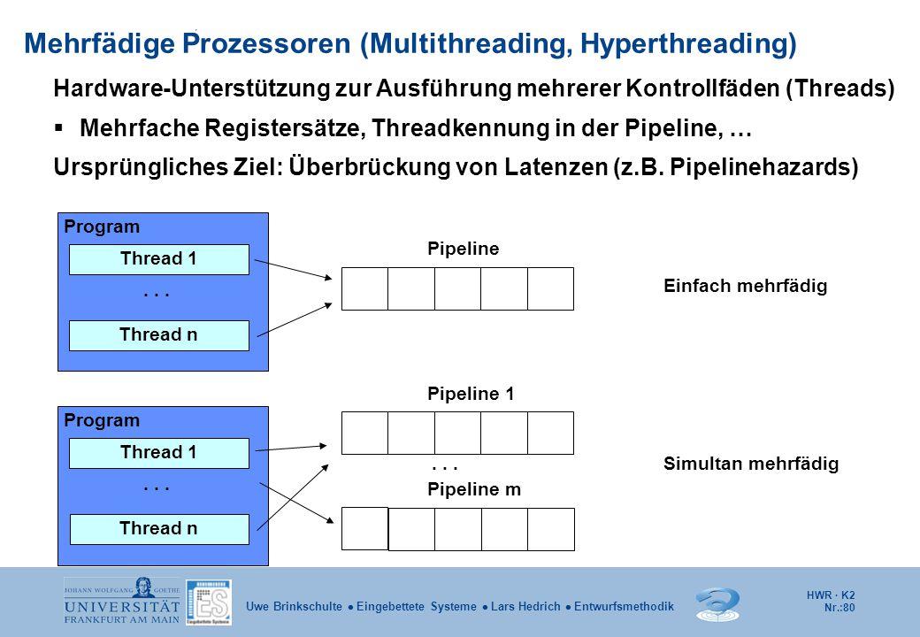 HWR · K2 Nr.:80 Uwe Brinkschulte  Eingebettete Systeme  Lars Hedrich  Entwurfsmethodik Mehrfädige Prozessoren (Multithreading, Hyperthreading) Prog