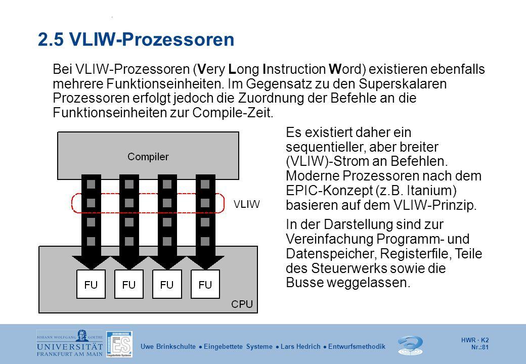 HWR · K2 Nr.:81 Uwe Brinkschulte  Eingebettete Systeme  Lars Hedrich  Entwurfsmethodik 2.5 VLIW-Prozessoren Bei VLIW-Prozessoren (Very Long Instruc