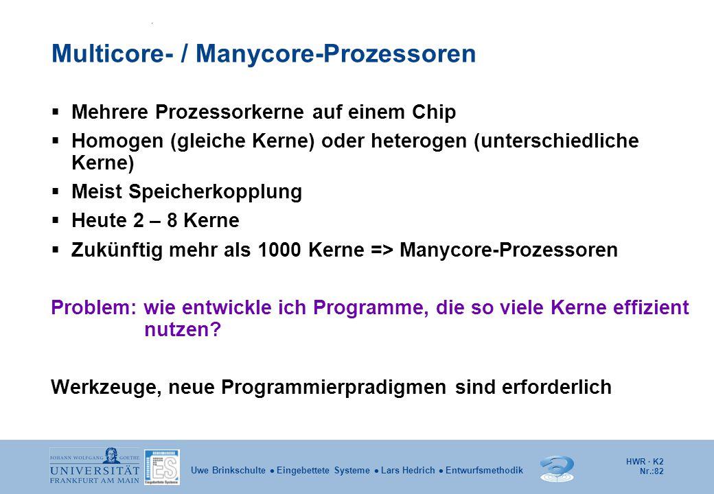 HWR · K2 Nr.:82 Uwe Brinkschulte  Eingebettete Systeme  Lars Hedrich  Entwurfsmethodik Multicore- / Manycore-Prozessoren  Mehrere Prozessorkerne a