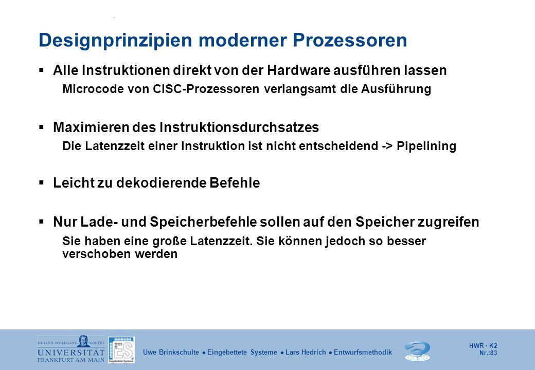 HWR · K2 Nr.:83 Uwe Brinkschulte  Eingebettete Systeme  Lars Hedrich  Entwurfsmethodik Designprinzipien moderner Prozessoren  Alle Instruktionen d