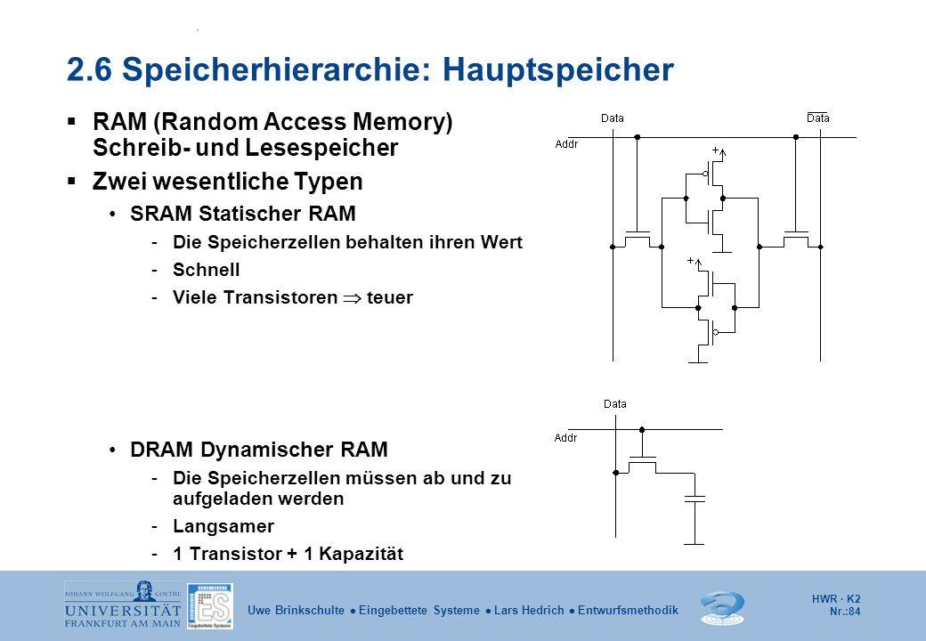 HWR · K2 Nr.:84 Uwe Brinkschulte  Eingebettete Systeme  Lars Hedrich  Entwurfsmethodik 2.6 Speicherhierarchie: Hauptspeicher  RAM (Random Access M