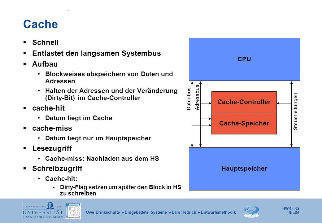 HWR · K2 Nr.:86 Uwe Brinkschulte  Eingebettete Systeme  Lars Hedrich  Entwurfsmethodik Cache  Schnell  Entlastet den langsamen Systembus  Aufbau