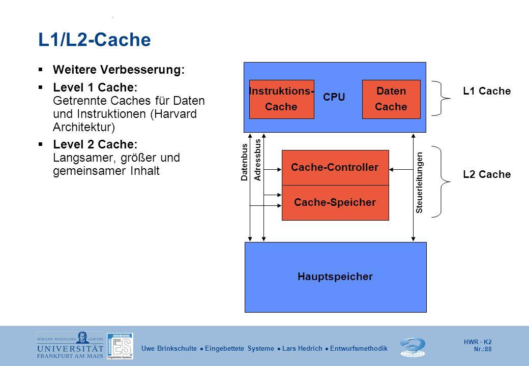 HWR · K2 Nr.:88 Uwe Brinkschulte  Eingebettete Systeme  Lars Hedrich  Entwurfsmethodik L1/L2-Cache  Weitere Verbesserung:  Level 1 Cache: Getrenn