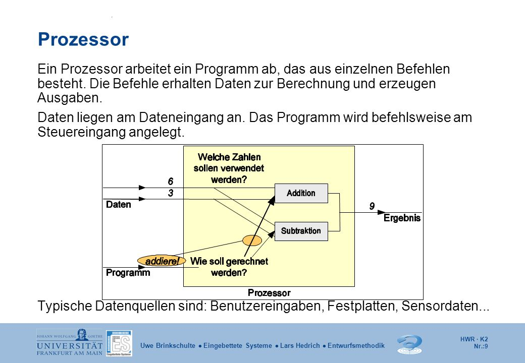 HWR · K2 Nr.:10 Uwe Brinkschulte  Eingebettete Systeme  Lars Hedrich  Entwurfsmethodik Rechner Operationsprinzip eines Rechners ist die sequentielle Programmabarbeitung durch einen Prozessor.