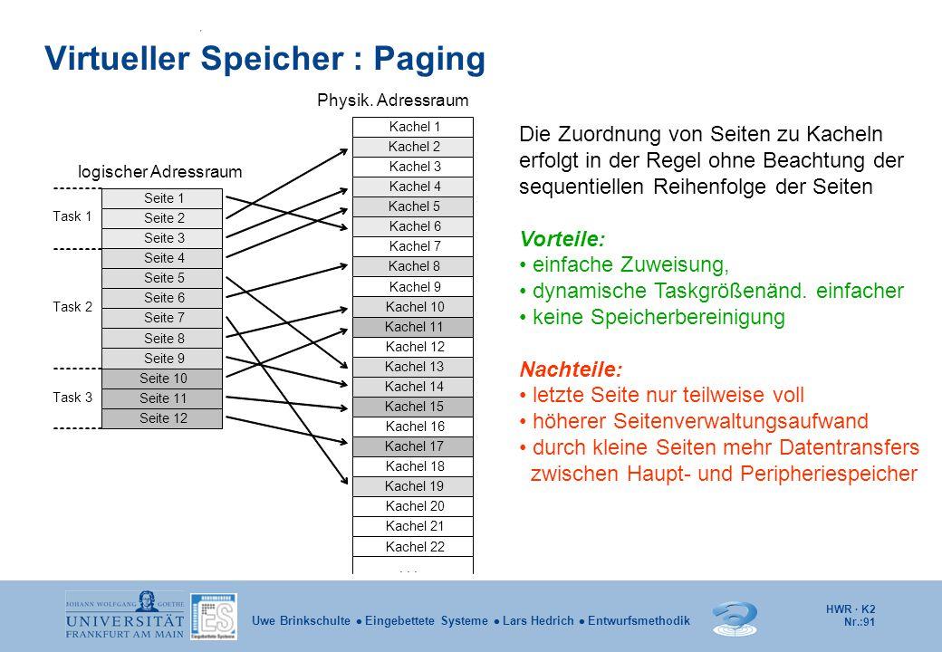 HWR · K2 Nr.:91 Uwe Brinkschulte  Eingebettete Systeme  Lars Hedrich  Entwurfsmethodik Task 1 unbenutzt Task 1 Seite 1 Seite 2 Seite 3 Task 1 Seite