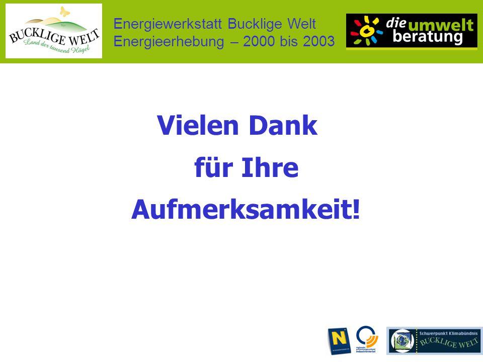 Energiewerkstatt Bucklige Welt Energieerhebung – 2000 bis 2003 Vielen Dank für Ihre Aufmerksamkeit!