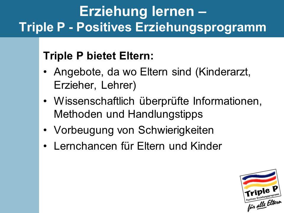 Erziehung lernen – Triple P - Positives Erziehungsprogramm Triple P bietet Eltern: Angebote, da wo Eltern sind (Kinderarzt, Erzieher, Lehrer) Wissenschaftlich überprüfte Informationen, Methoden und Handlungstipps Vorbeugung von Schwierigkeiten Lernchancen für Eltern und Kinder