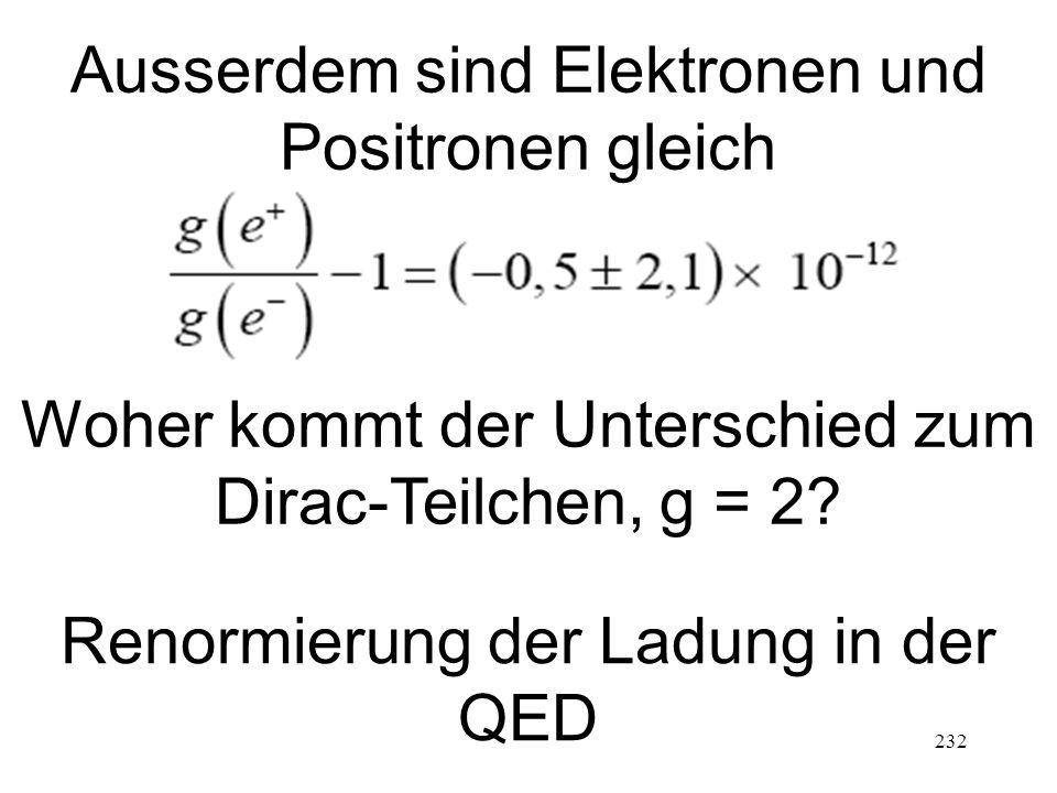 232 Ausserdem sind Elektronen und Positronen gleich Woher kommt der Unterschied zum Dirac-Teilchen, g = 2? Renormierung der Ladung in der QED