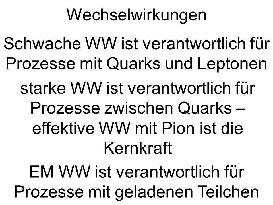 237 Wechselwirkungen Schwache WW ist verantwortlich für Prozesse mit Quarks und Leptonen starke WW ist verantwortlich für Prozesse zwischen Quarks – effektive WW mit Pion ist die Kernkraft EM WW ist verantwortlich für Prozesse mit geladenen Teilchen