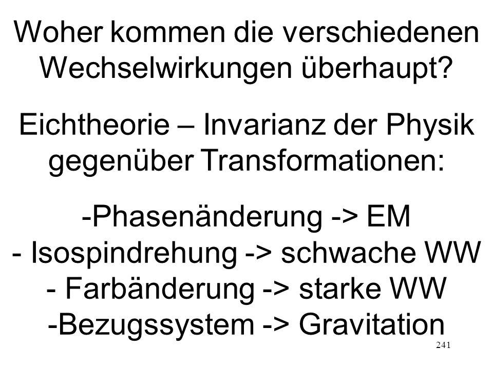 241 Woher kommen die verschiedenen Wechselwirkungen überhaupt? Eichtheorie – Invarianz der Physik gegenüber Transformationen: -Phasenänderung -> EM -