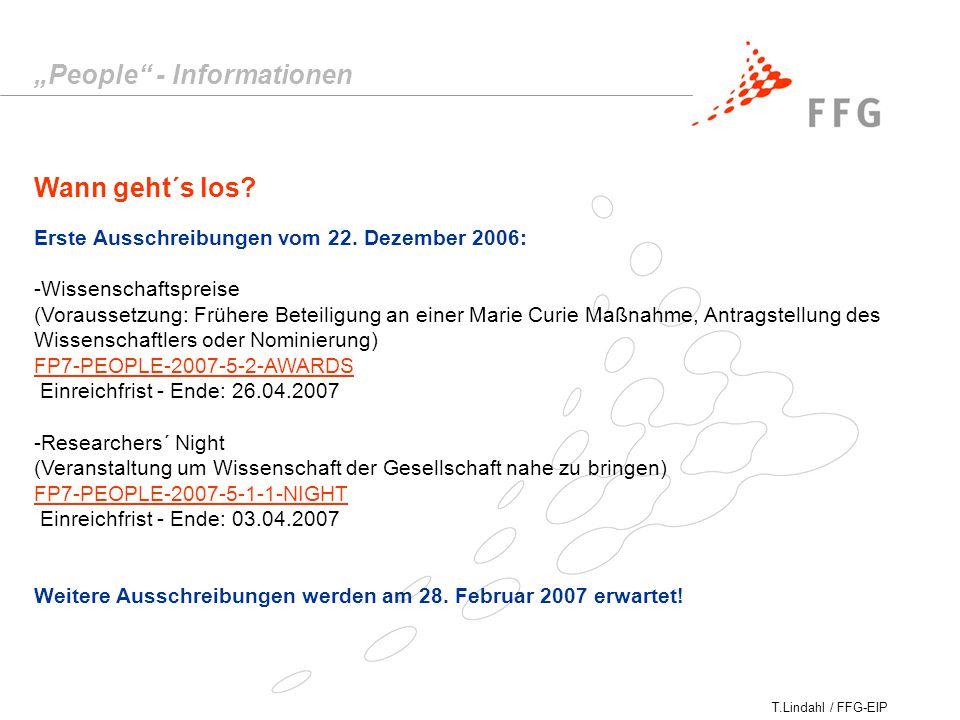 T.Lindahl / FFG-EIP Wann geht´s los. Erste Ausschreibungen vom 22.