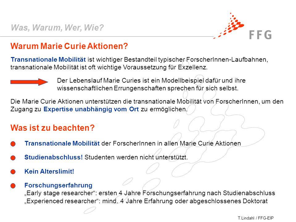 T.Lindahl / FFG-EIP Warum Marie Curie Aktionen.