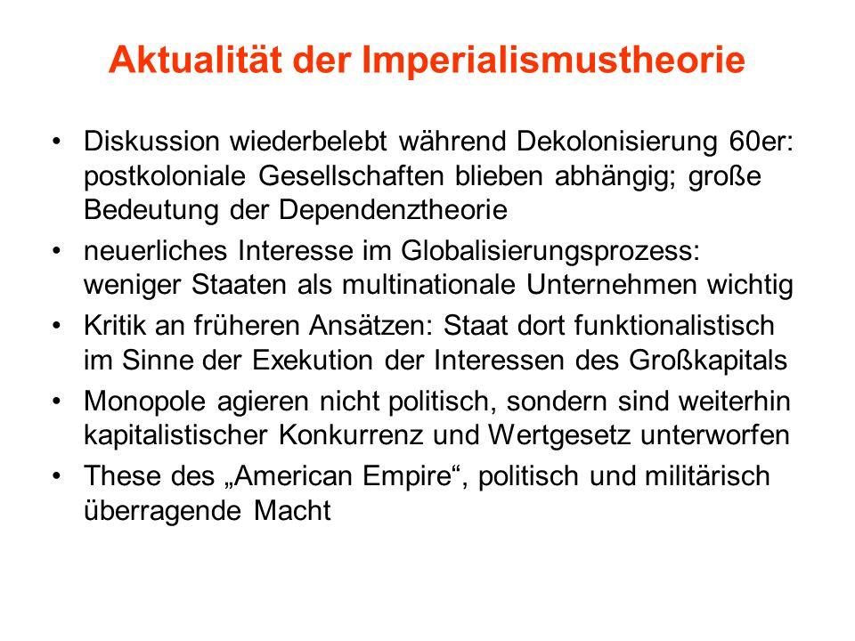 Aktualität der Imperialismustheorie Diskussion wiederbelebt während Dekolonisierung 60er: postkoloniale Gesellschaften blieben abhängig; große Bedeutu