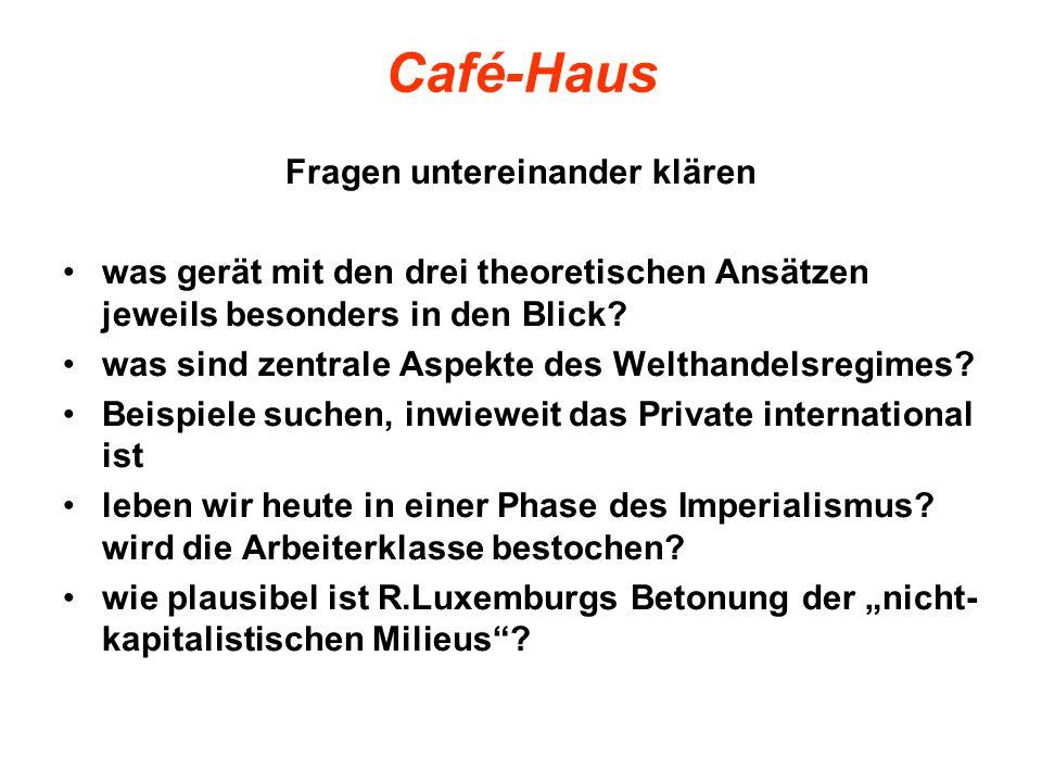 Café-Haus Fragen untereinander klären was gerät mit den drei theoretischen Ansätzen jeweils besonders in den Blick? was sind zentrale Aspekte des Welt