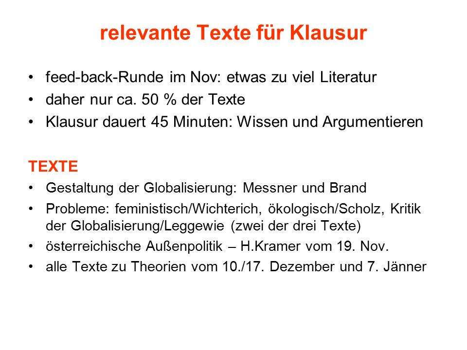 relevante Texte für Klausur feed-back-Runde im Nov: etwas zu viel Literatur daher nur ca. 50 % der Texte Klausur dauert 45 Minuten: Wissen und Argumen