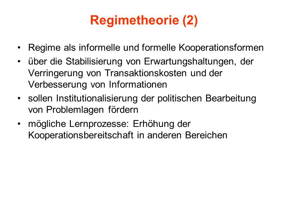 Regimetheorie (2) Regime als informelle und formelle Kooperationsformen über die Stabilisierung von Erwartungshaltungen, der Verringerung von Transakt