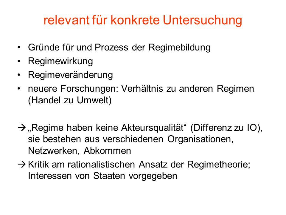 relevant für konkrete Untersuchung Gründe für und Prozess der Regimebildung Regimewirkung Regimeveränderung neuere Forschungen: Verhältnis zu anderen