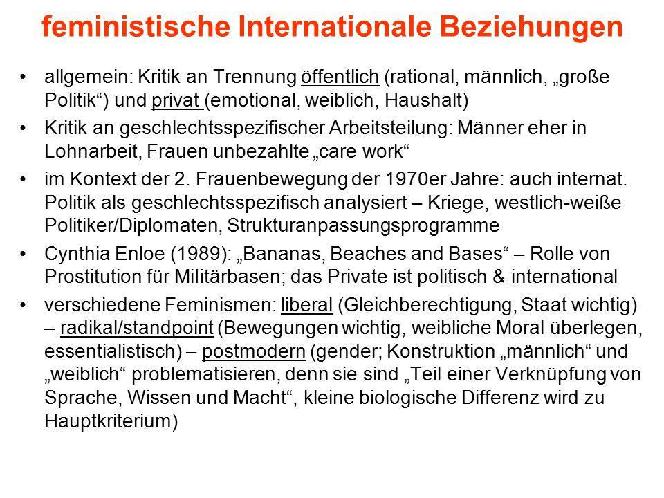 """feministische Internationale Beziehungen allgemein: Kritik an Trennung öffentlich (rational, männlich, """"große Politik"""") und privat (emotional, weiblic"""