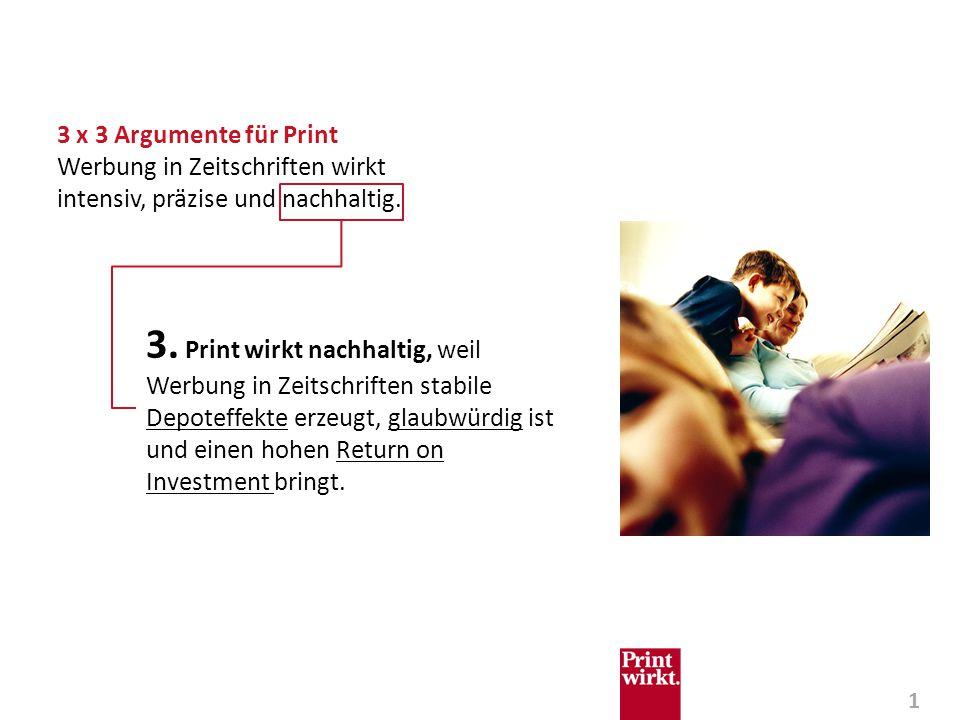 2 Print wirkt nachhaltig, weil Werbung in Zeitschriften stabile Depoteffekte erzeugt, glaubwürdig ist und einen hohen Return on Investment bringt.