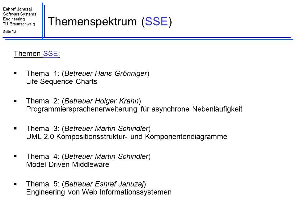 Eshref Januzaj Software Systems Engineering TU Braunschweig Seite 13 Themenspektrum (SSE) Themen SSE:  Thema 1: (Betreuer Hans Grönniger) Life Sequen