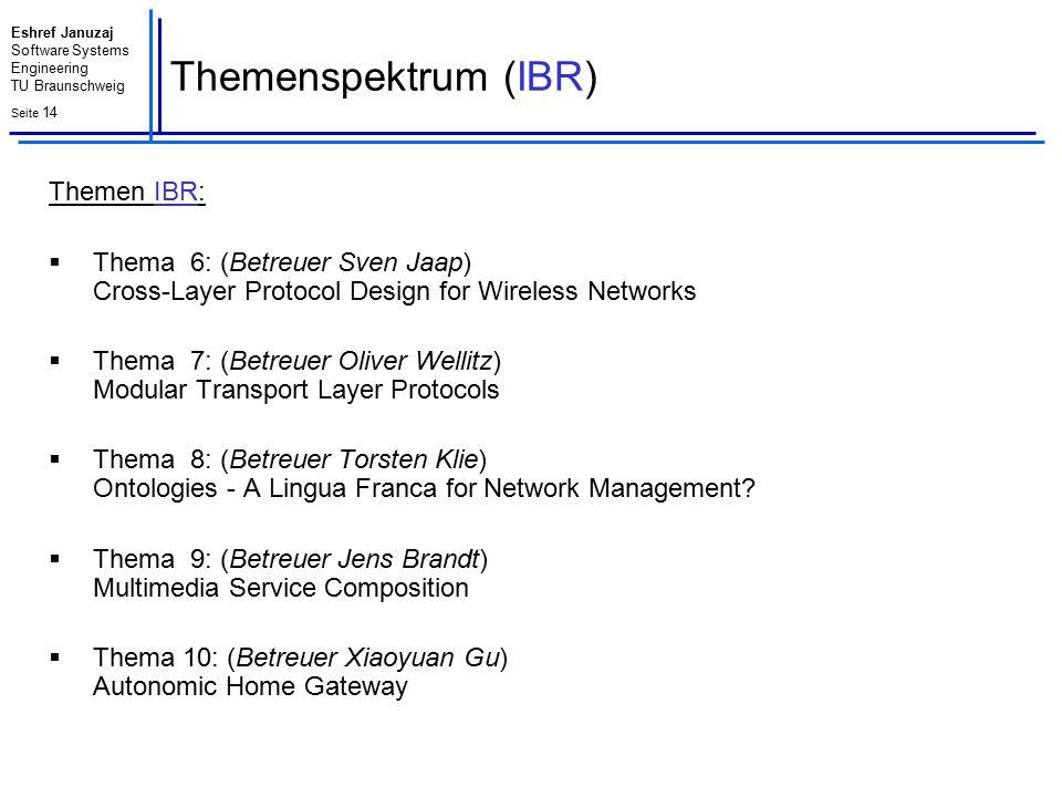 Eshref Januzaj Software Systems Engineering TU Braunschweig Seite 14 Themenspektrum (IBR) Themen IBR:  Thema 6: (Betreuer Sven Jaap) Cross-Layer Prot