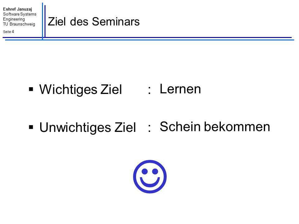 Eshref Januzaj Software Systems Engineering TU Braunschweig Seite 4 Ziel des Seminars  Wichtiges Ziel :  Unwichtiges Ziel : Lernen Schein bekommen