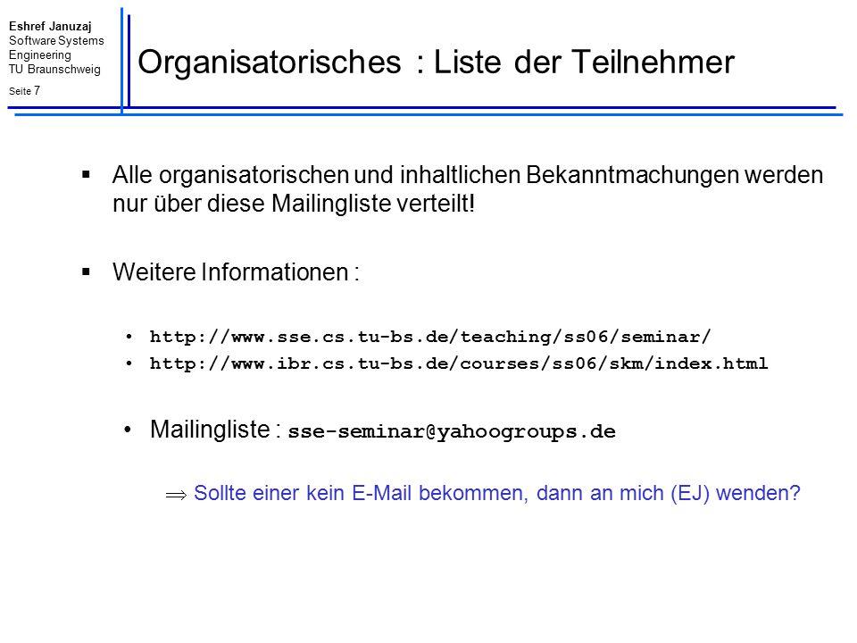 Eshref Januzaj Software Systems Engineering TU Braunschweig Seite 7 Organisatorisches : Liste der Teilnehmer  Alle organisatorischen und inhaltlichen