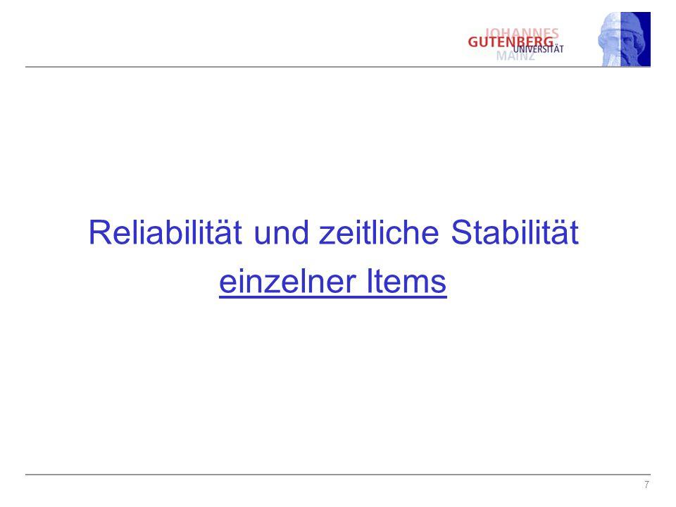 7 Reliabilität und zeitliche Stabilität einzelner Items